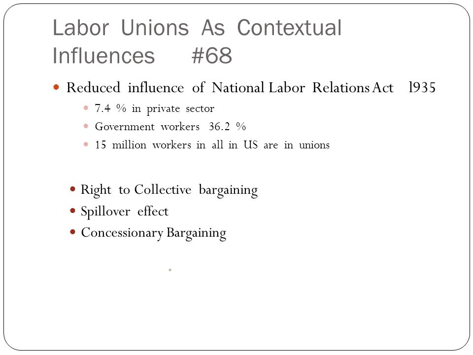 Labor Unions As Contextual Influences #68