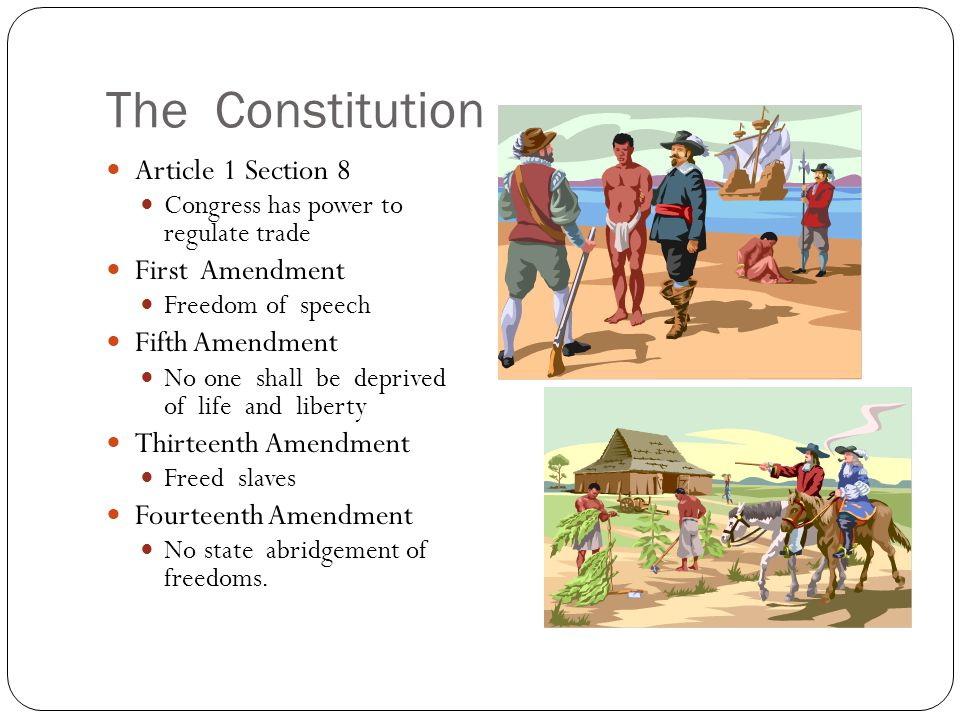 The Constitution Article 1 Section 8 First Amendment Fifth Amendment