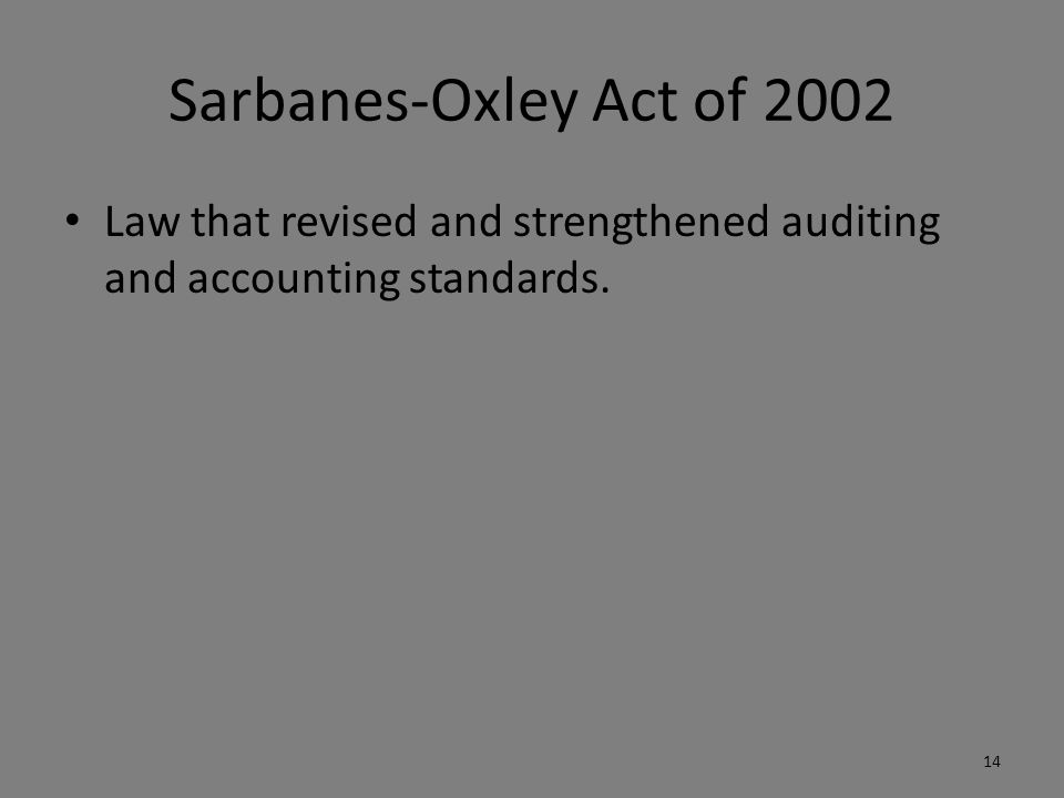 the sarbanes oxley act of 2002 Navigating the sarbanes-oxley act of 2002 1 a new beginning – the sarbanes-oxley act (the act) the legislation of accountability overview: the sarbanes-oxley act contains provisions impacting many of the key players in the capital formation.