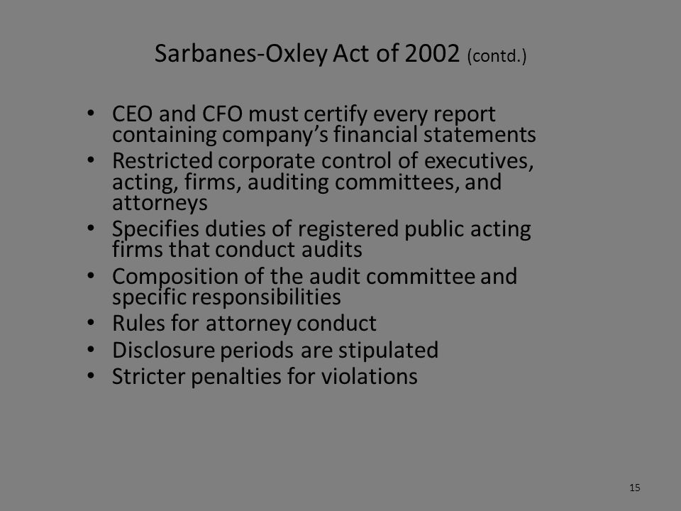 examine the effect of the sarbanes oxley act of 2002 on financial statements How does the sarbanes-oxley act of 2002 affect the preparation and control of financial statements why can't ethics replace internal controls thank you for all of your help follow 1 answer 1 report abuse.