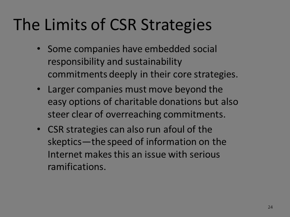 Chances and limits of csr