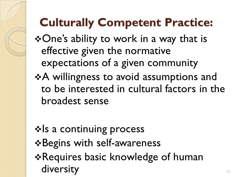 Culturally Competent Practice: