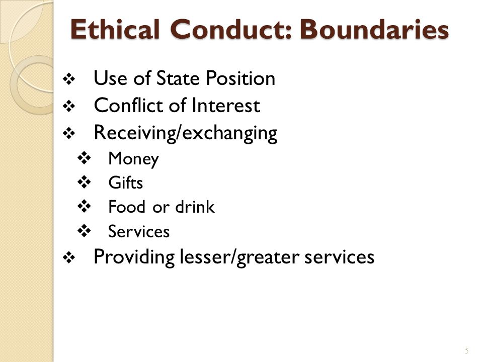 Ethical Conduct: Boundaries