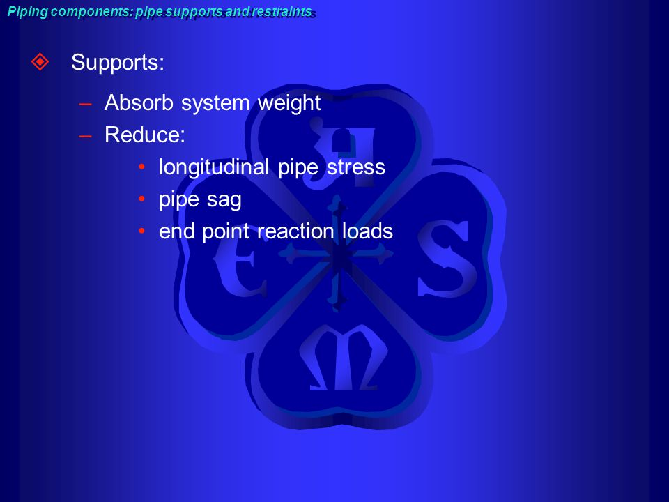 longitudinal pipe stress pipe sag end point reaction loads