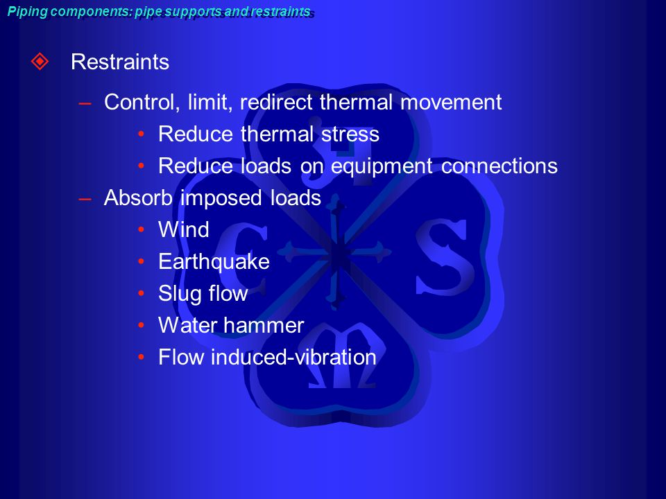 Control, limit, redirect thermal movement Reduce thermal stress