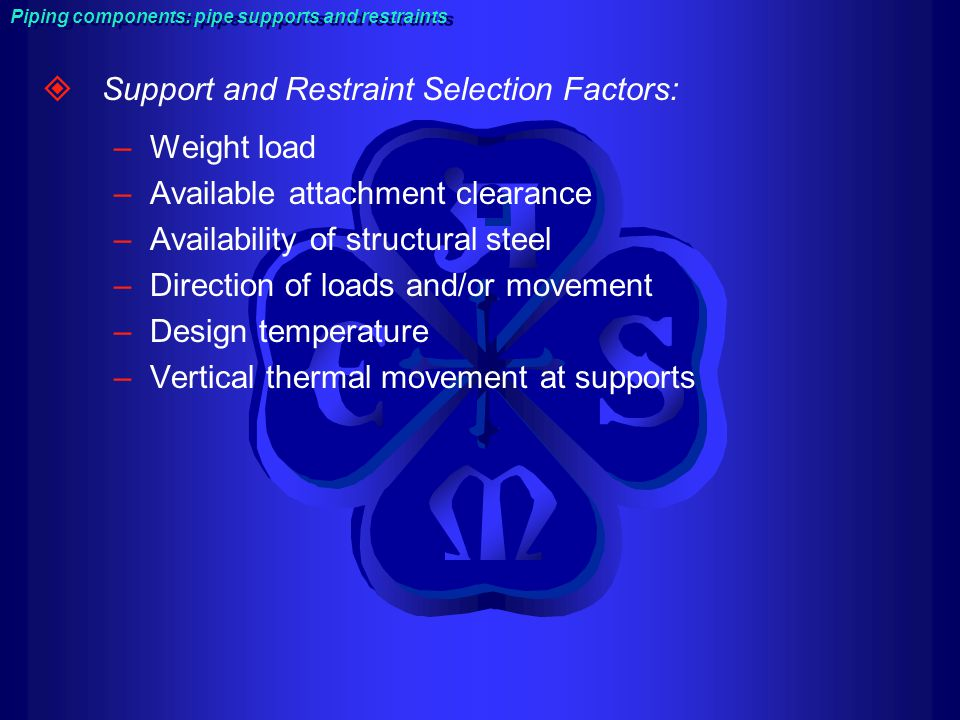 Support and Restraint Selection Factors: Weight load