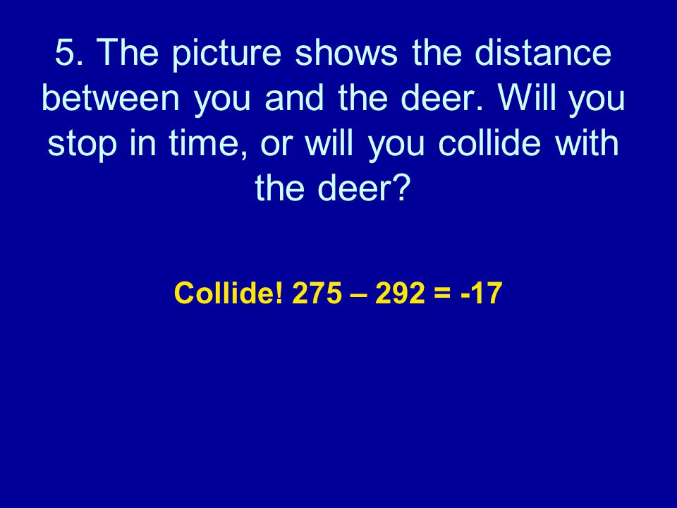 5. The picture shows the distance between you and the deer