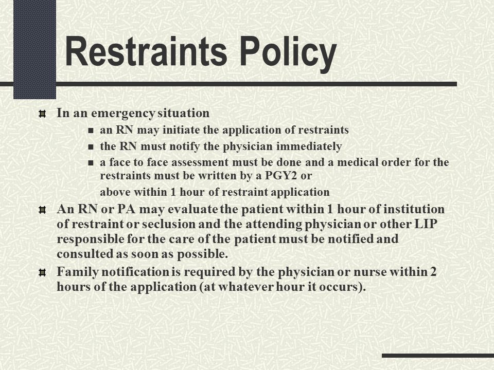 Reducing use of, and where possible eliminating, restraint and seclusion