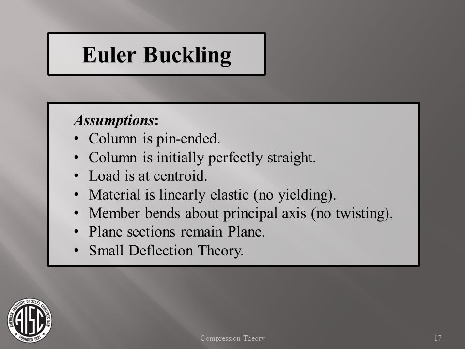 Euler Buckling Assumptions: Column is pin-ended.