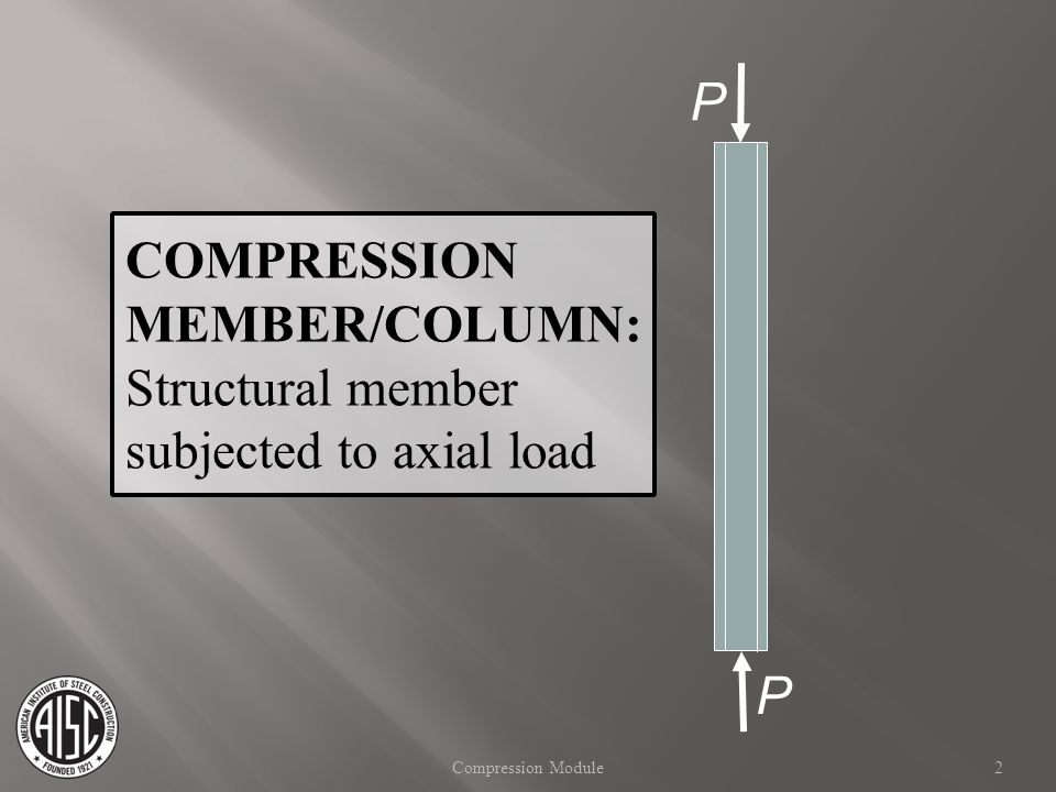 COMPRESSION MEMBER/COLUMN: Structural member subjected to axial load