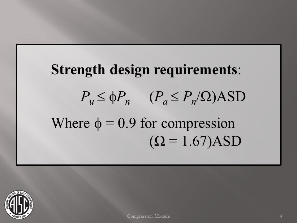 Strength design requirements: Pu  Pn (Pa  Pn/Ω)ASD