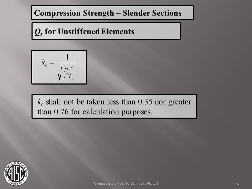Compression – AISC Manual 14th Ed