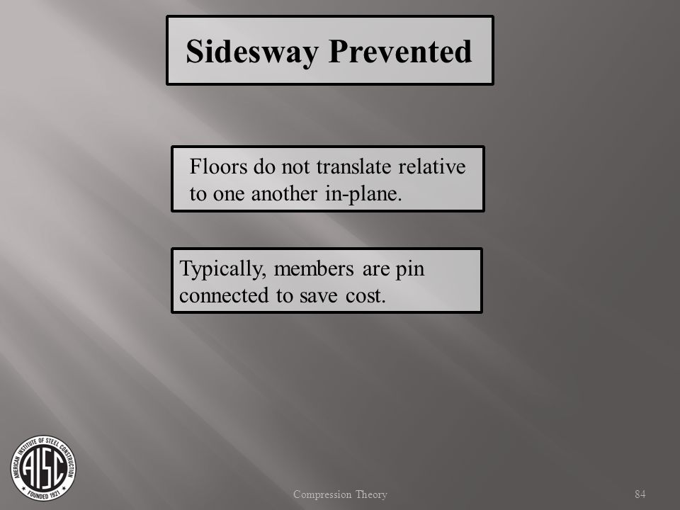 Sidesway Prevented Floors do not translate relative to one another in-plane. Typically, members are pin connected to save cost.