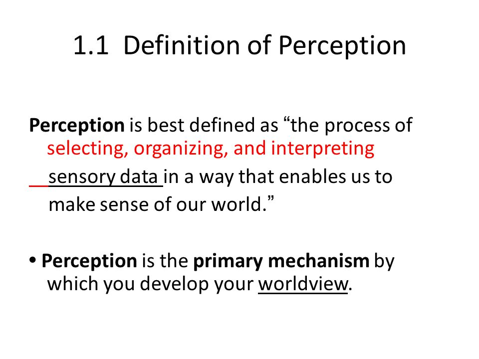 A definition of perception