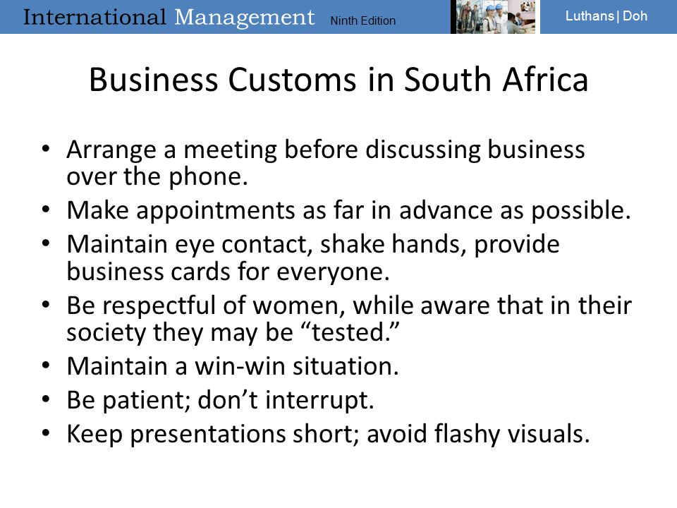 Business Customs in South Africa