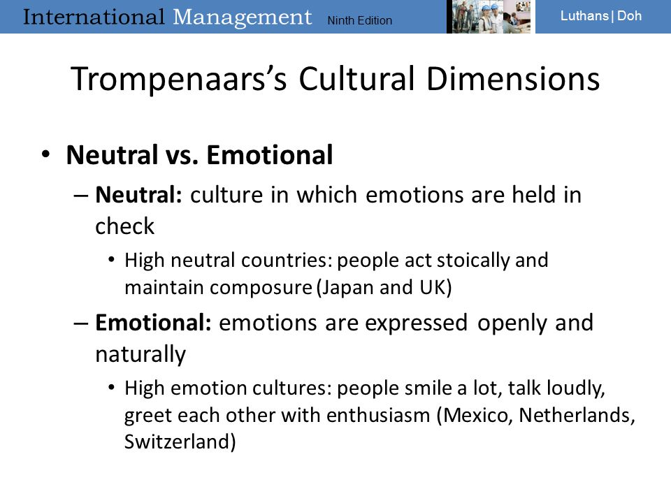 trompenaars cultural dimension on netherlands Learn more about the trompenaars cultural dimensions, to understand business  cultural differences and develop global cooperation read more about this.