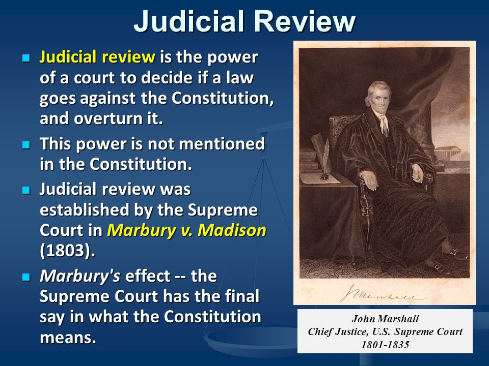 chief justice john marshall and the constitution as a supreme law Landmarks: historic us supreme court decisions 16  —chief justice john  marshall in mcculloch v  constitution attempted to resolve these concerns.