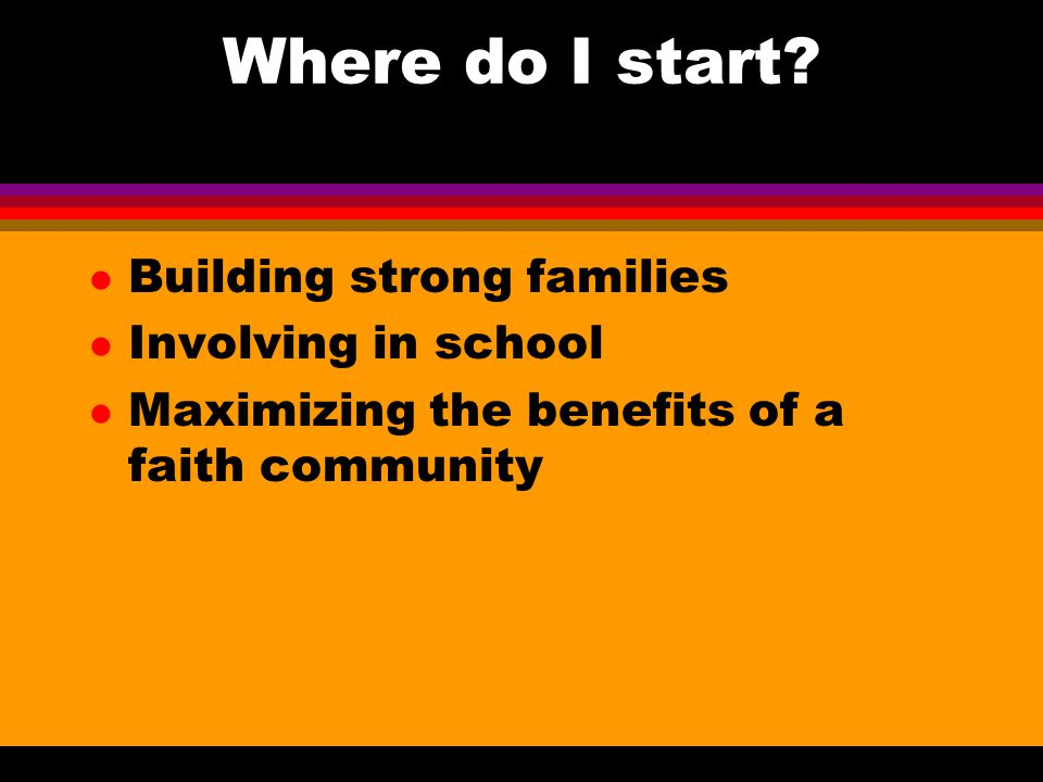 Where do I start Building strong families Involving in school