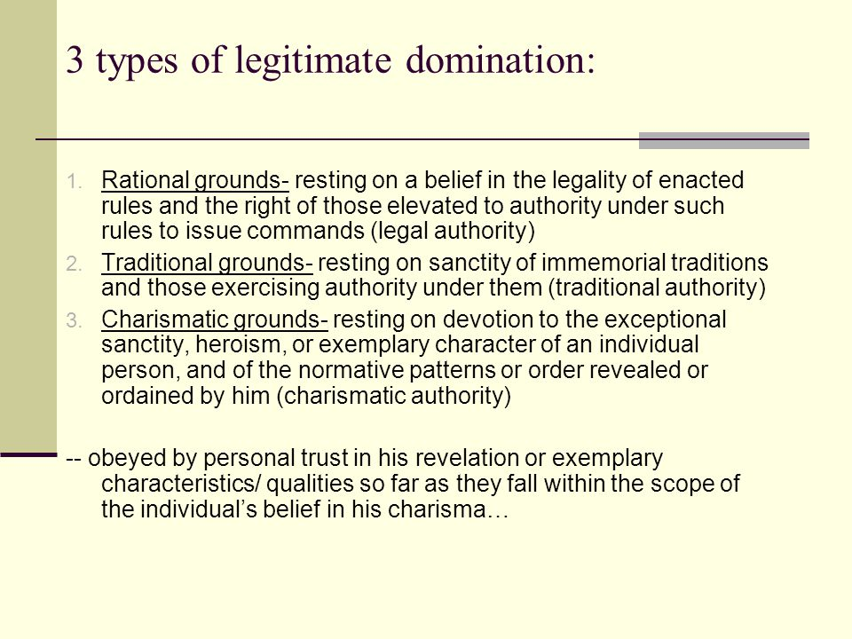 Quotes from the types of legitimate domination