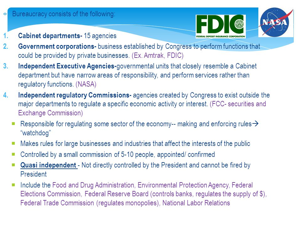 9 The Executive Branch and the Federal Bureaucracy - ppt download