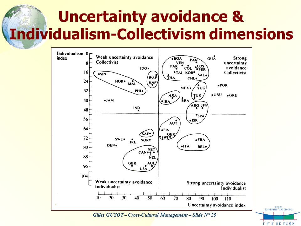 uncertainty avoidance the dimension uncertainty avoidance Hofstede's uncertainty avoidance index measures uncertainty avoidance, which is engaging in certain behaviors in order to avoid risk and the unknown like all of hofstede's cultural dimensions .