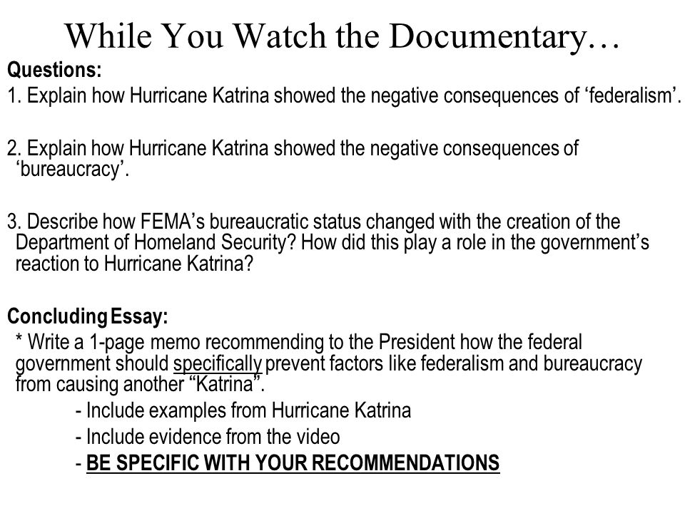 Federalism And Hurricane Katrina Essay Research Paper Example  Federalism And Hurricane Katrina Essay