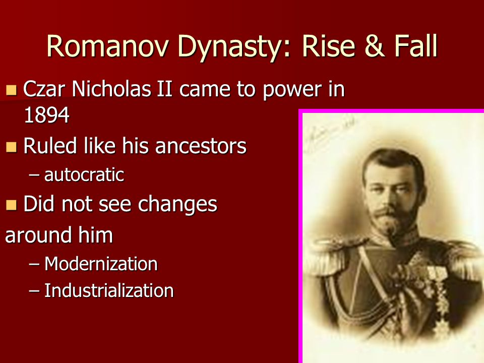 why did tsar nicholas ii fall In april 1915 the equally irresolute tsar nicholas ii took the fatal step of assuming personal command of the army  the fall of the dynasties by edmond taylor (doubleday, i963).