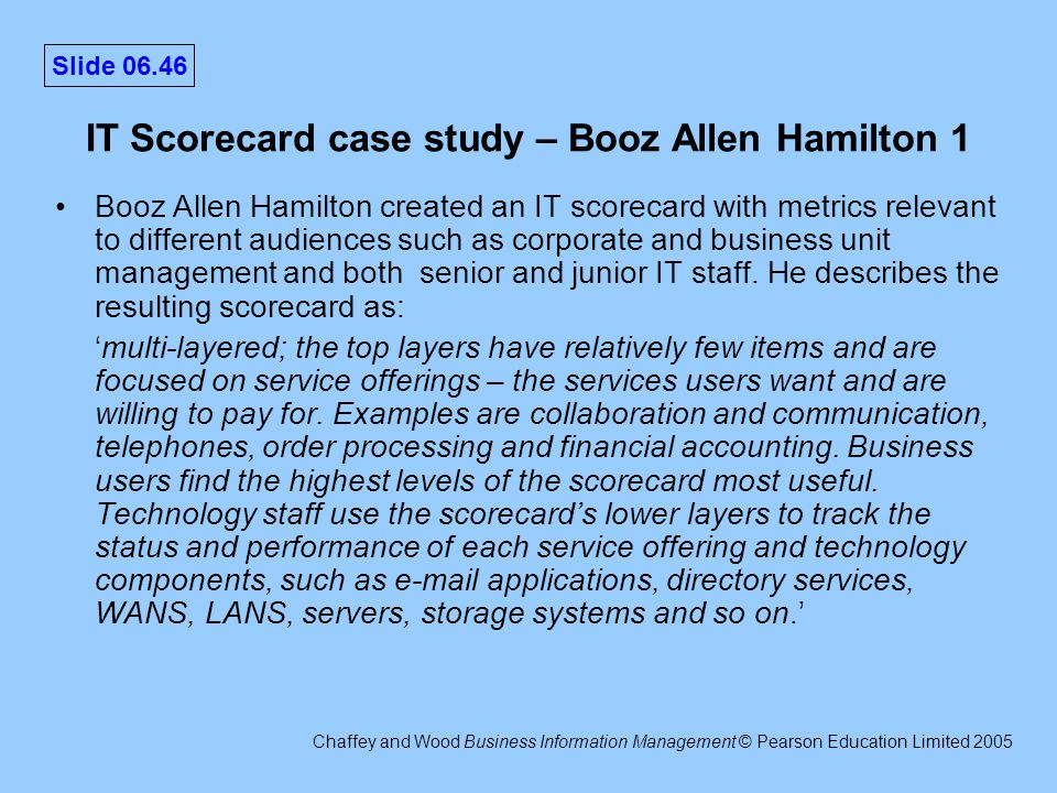 booz allen hamilton case study Booz allen hamilton is a provider of management and technology consulting and engineering services to the us and international governments, major corporations and not-for-profit.