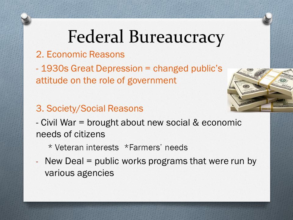 the role of the federal bureaucracy essay Bureaucracy is necessary and the capitalist system plays a major role in the development of bureaucracy  his essay bureaucracy  (federal and state.