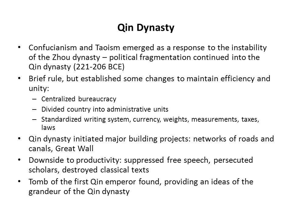 the qin dynasty essay The qin dynasty did not last four years after the death of its founder, qin shi   qin, after the fall of the dynasty the states of han and chu were the two most.