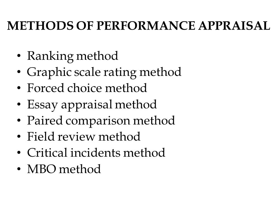 Method of Performance Appraisal