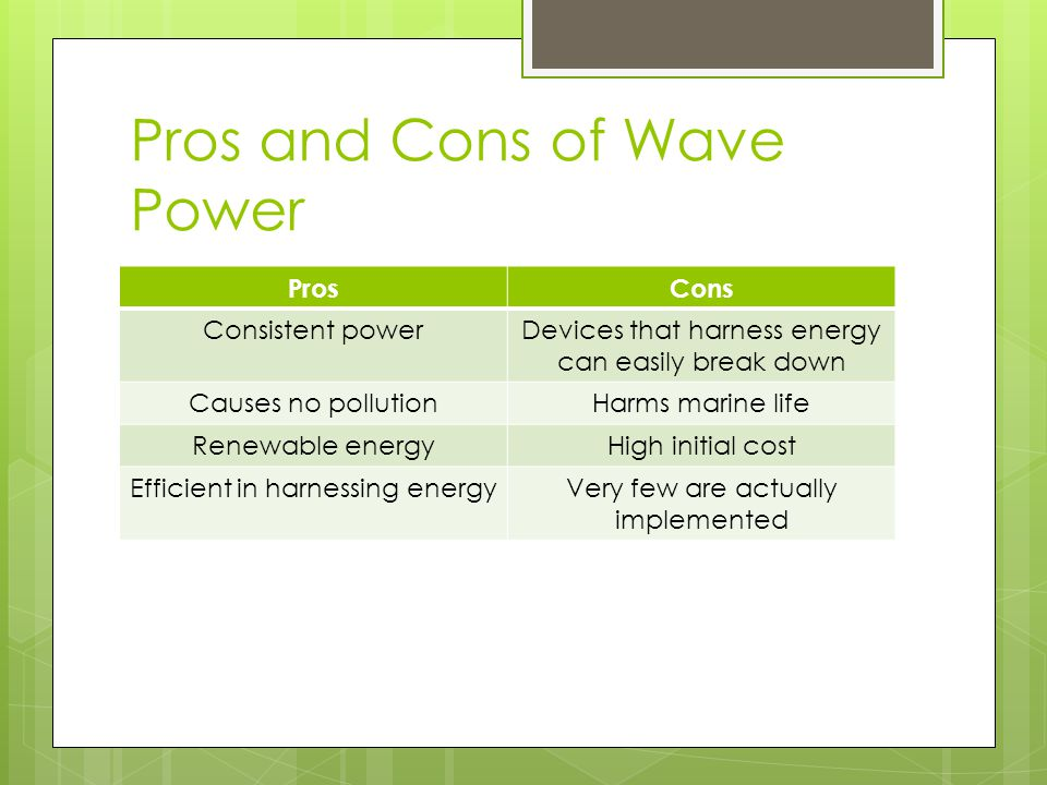 pros and cons of alternative sources Pros: renewable and plentiful windmills offer many advantages as sources of  electricity they can be manufactured and erected rather quickly, and require no .