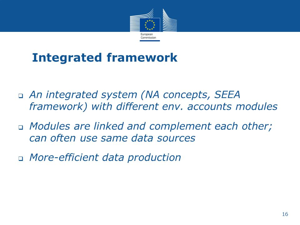Integrated framework An integrated system (NA concepts, SEEA framework) with different env. accounts modules.