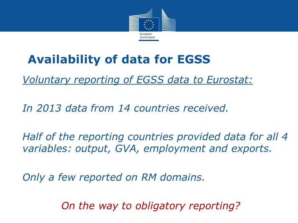 Availability of data for EGSS