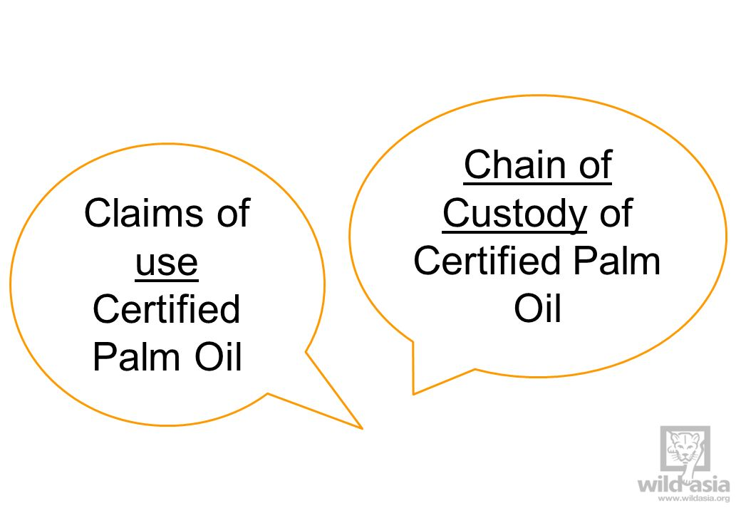 Chain of Custody of Certified Palm Oil