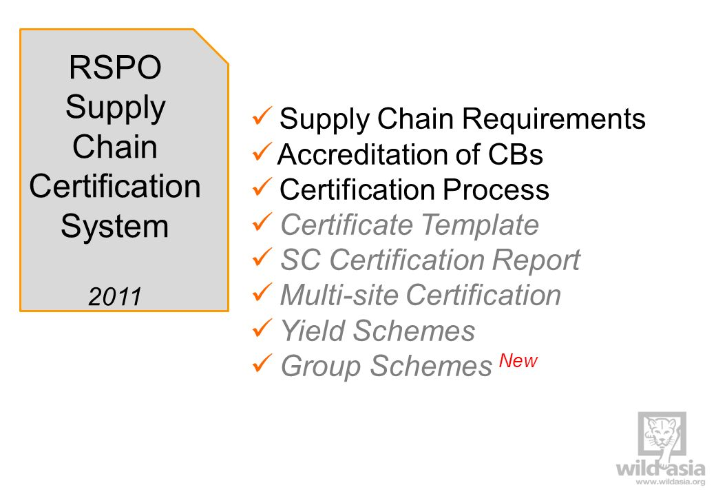 RSPO Supply Chain Certification System