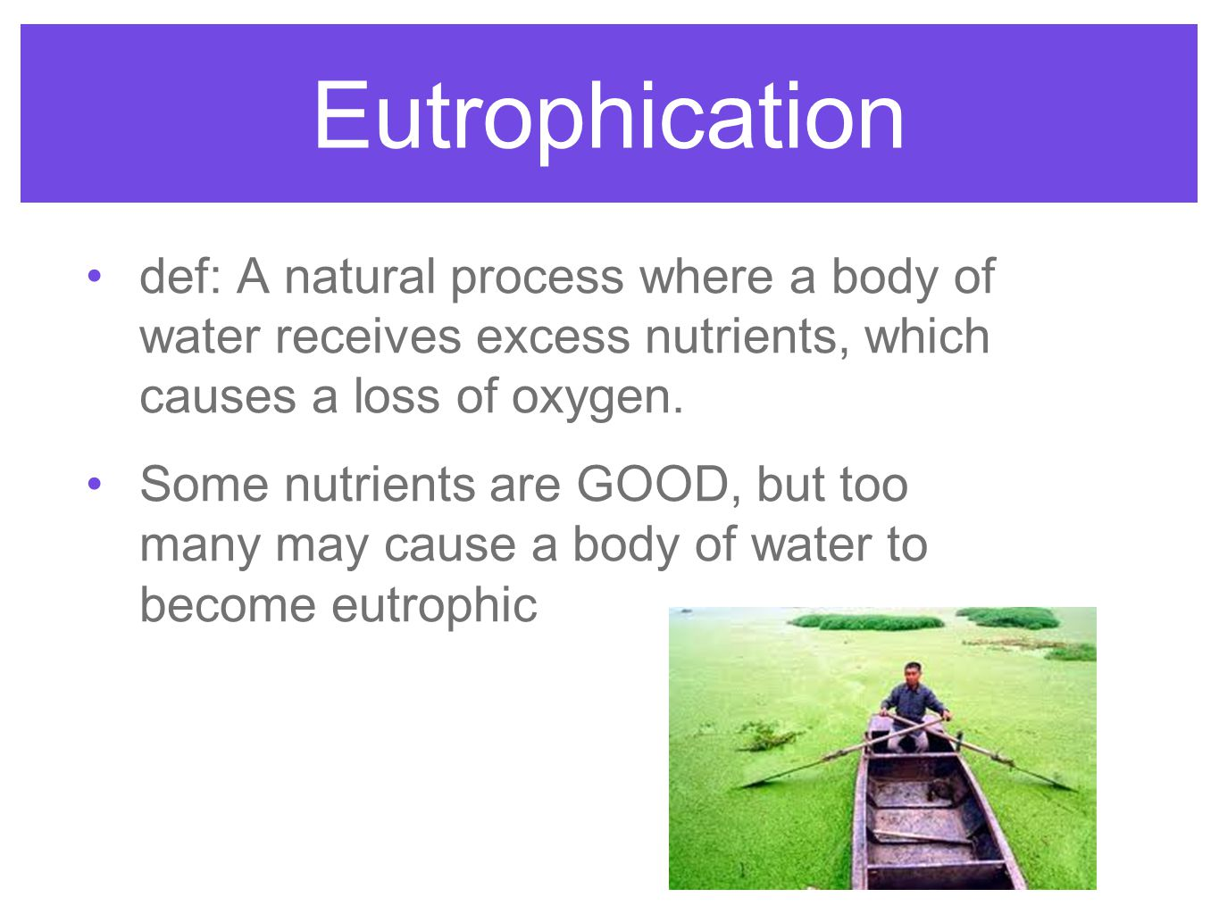 Eutrophication def: A natural process where a body of water receives excess nutrients, which causes a loss of oxygen.