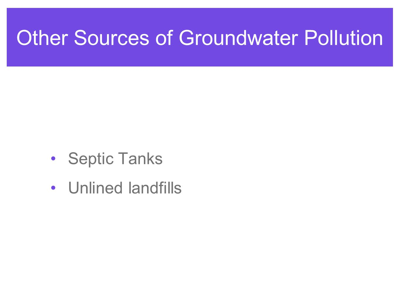 Other Sources of Groundwater Pollution