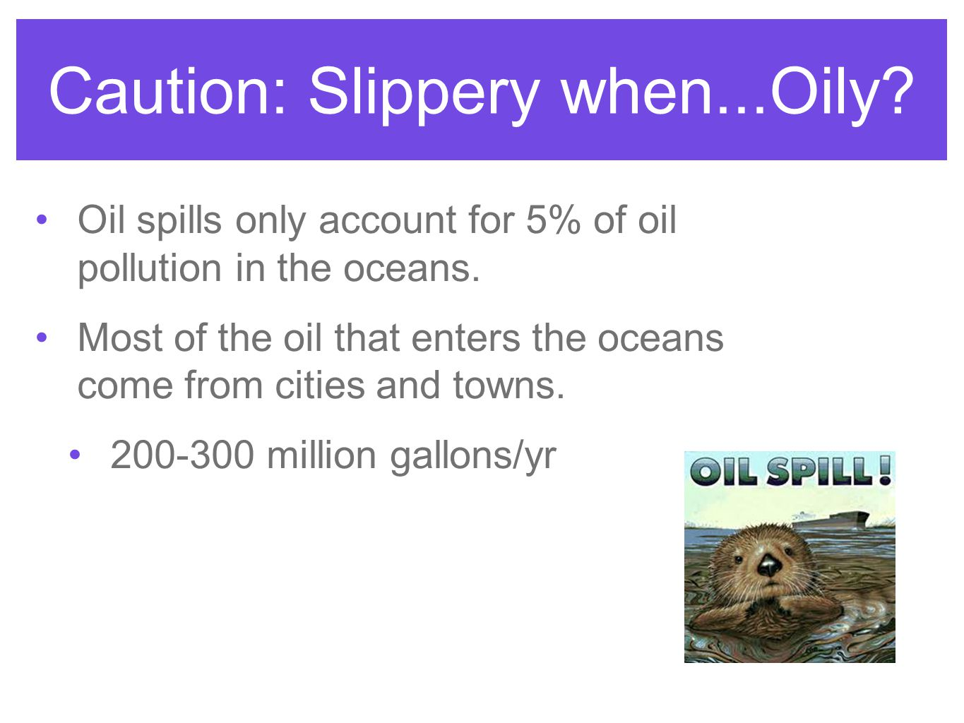 Caution: Slippery when...Oily