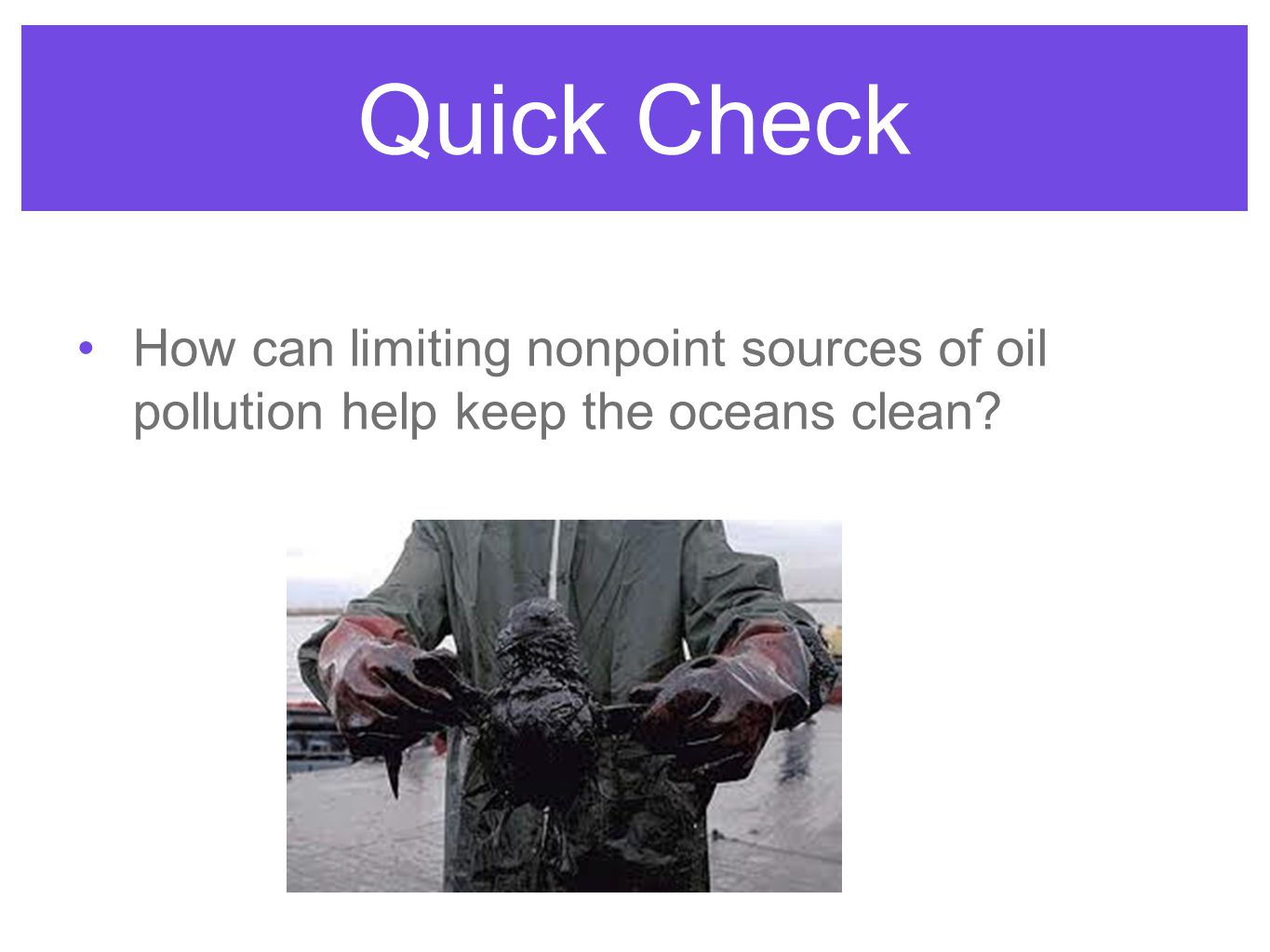 Quick Check How can limiting nonpoint sources of oil pollution help keep the oceans clean
