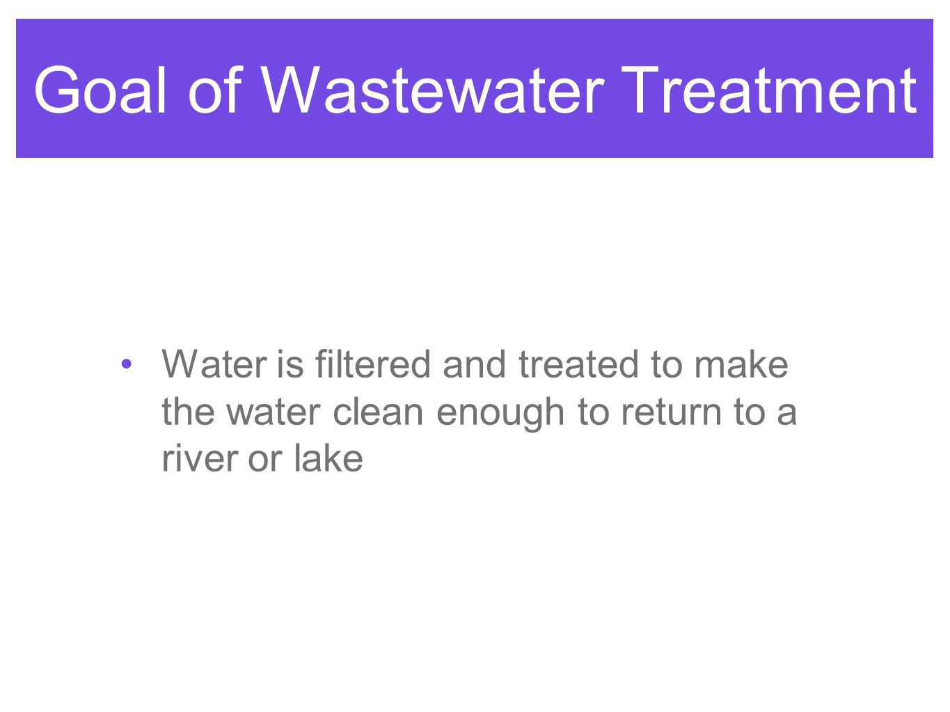Goal of Wastewater Treatment