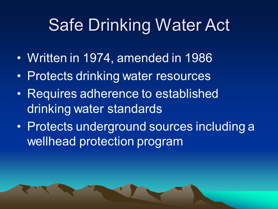 An analysis of the safe drinking water act sdwa