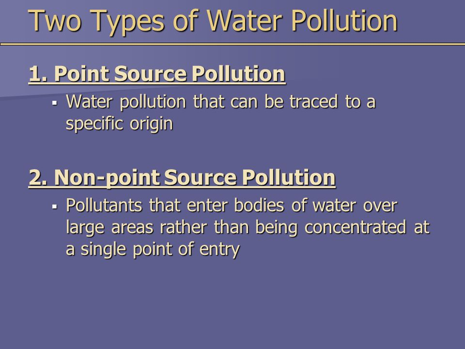 Two Types of Water Pollution