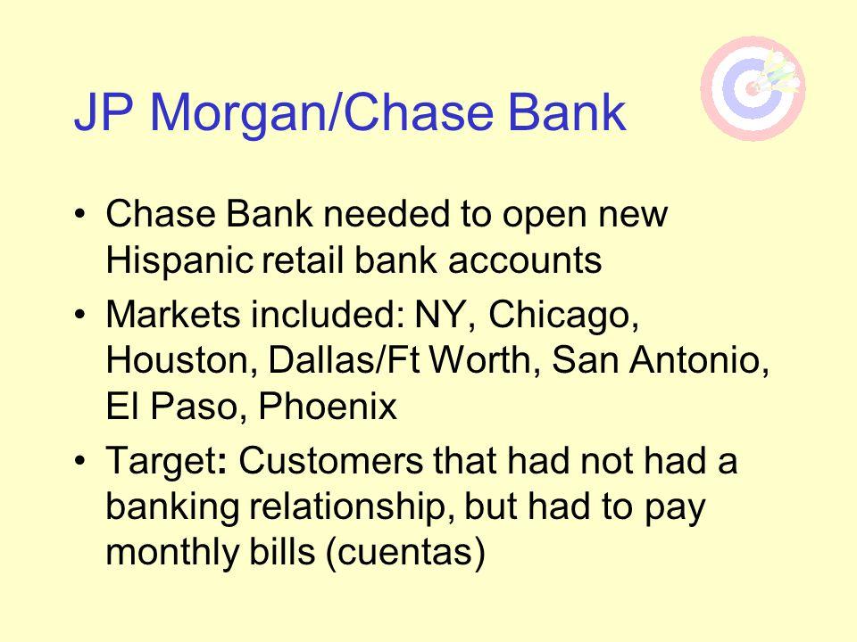 JP Morgan/Chase BankChase Bank needed to open new Hispanic retail bank accounts.