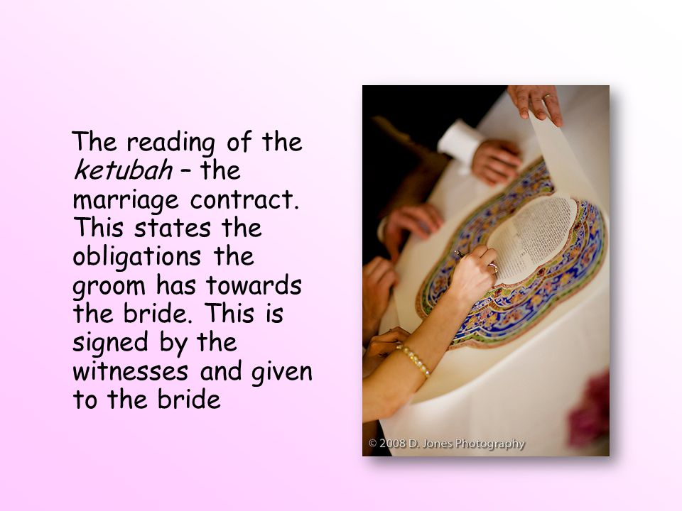 The reading of the ketubah – the marriage contract