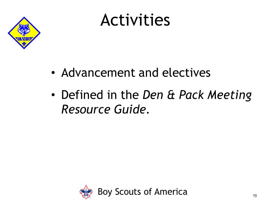 Activities Advancement and electives