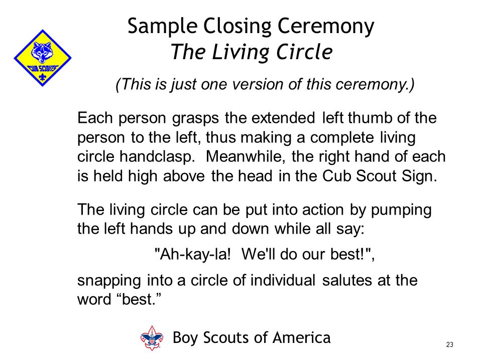 Sample Closing Ceremony The Living Circle