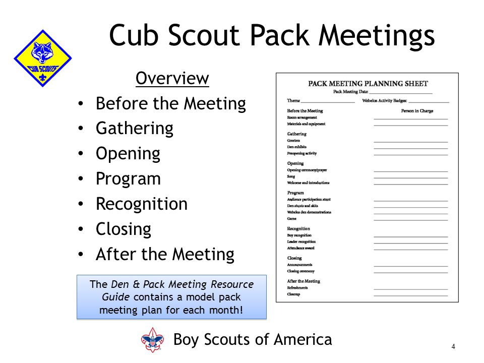 Cub Scout Pack Meetings