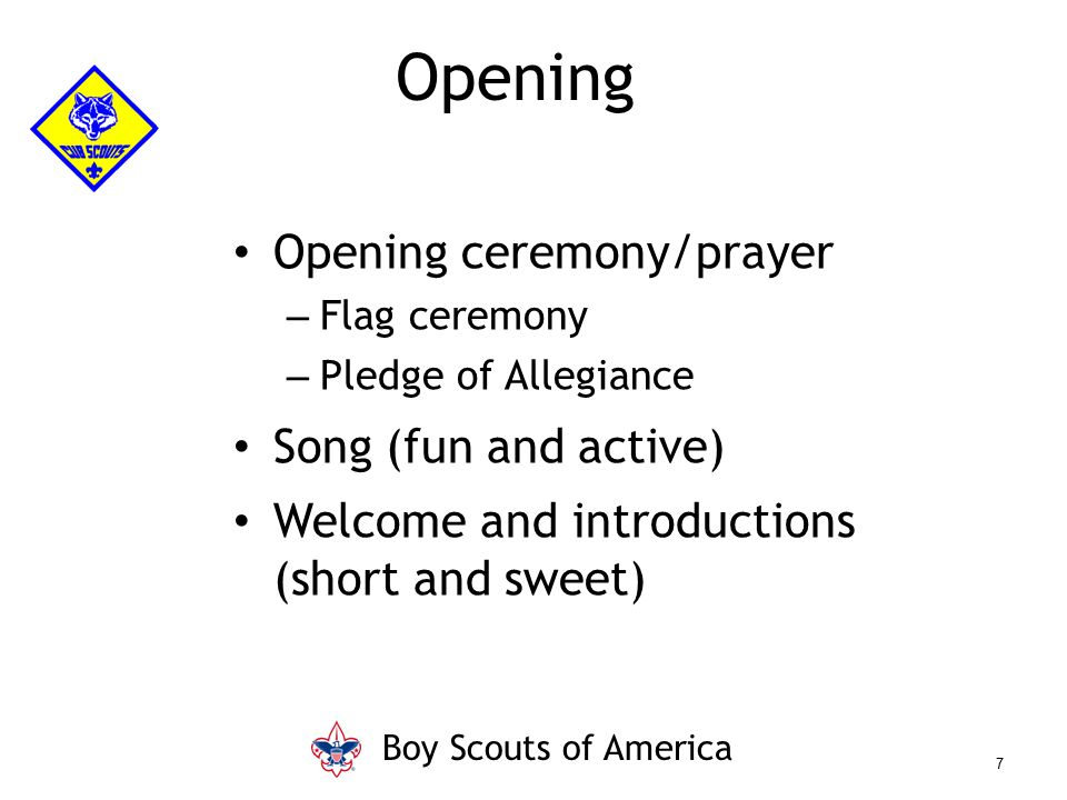 Opening Opening ceremony/prayer Song (fun and active)