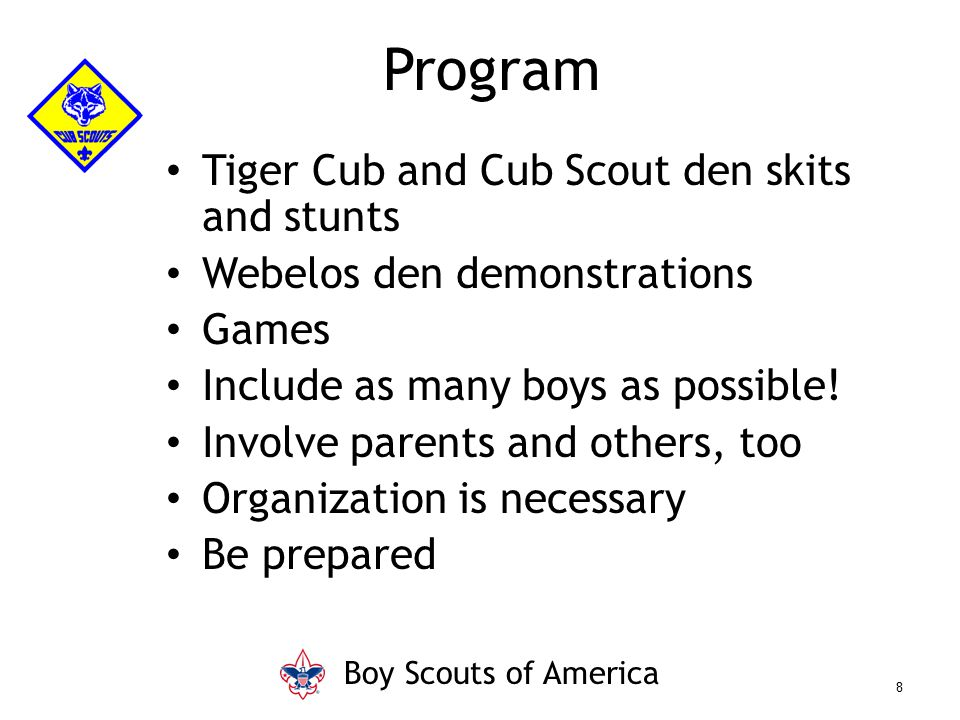 Program Tiger Cub and Cub Scout den skits and stunts